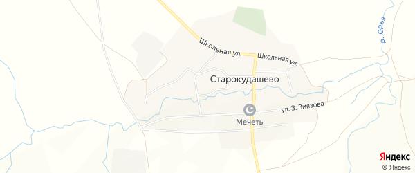 Карта села Старокудашево в Башкортостане с улицами и номерами домов