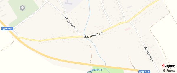 Мостовая улица на карте села Никифарово с номерами домов