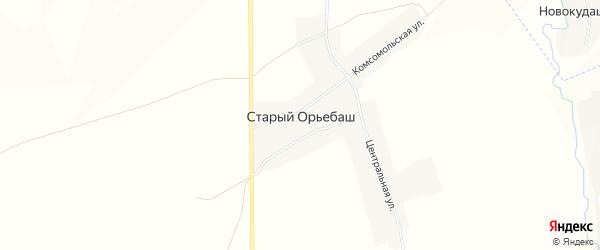 Карта деревни Старого Орьебаша в Башкортостане с улицами и номерами домов