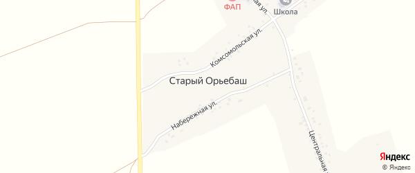 Набережная улица на карте деревни Старого Орьебаша с номерами домов