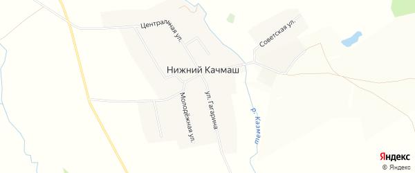Карта деревни Нижнего Качмаша в Башкортостане с улицами и номерами домов