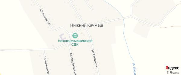 Солнечная улица на карте деревни Нижнего Качмаша с номерами домов
