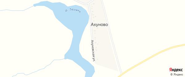 Ахуновская улица на карте деревни Ахуново с номерами домов