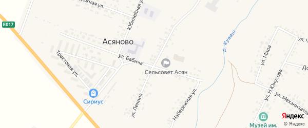 Улица Ленина на карте села Асяново с номерами домов