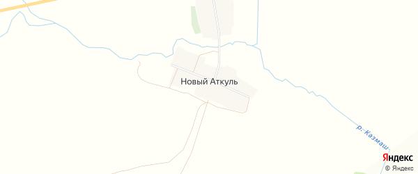 Карта деревни Нового Аткуля в Башкортостане с улицами и номерами домов