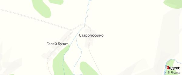 Карта деревни Старолюбино в Башкортостане с улицами и номерами домов