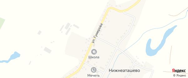 Улица Гумерова на карте села Нижнеаташево с номерами домов