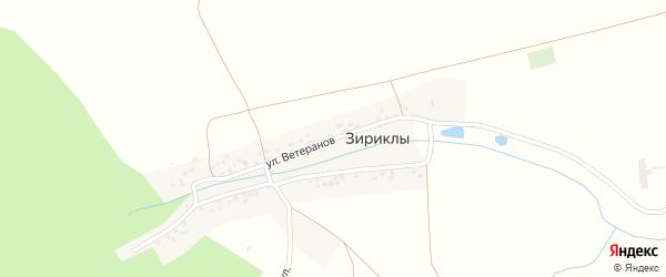 Улица Ветеранов на карте деревни Зириклы с номерами домов