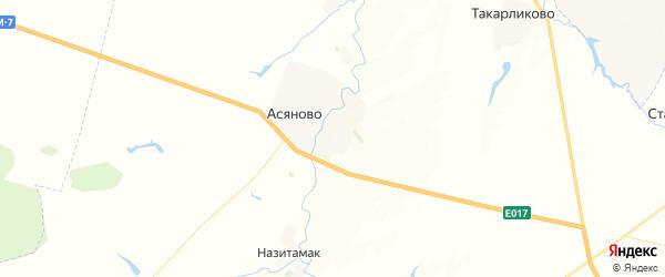 Карта Асяновского сельсовета республики Башкортостан с районами, улицами и номерами домов