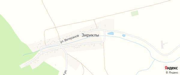 Лесная улица на карте деревни Зириклы с номерами домов