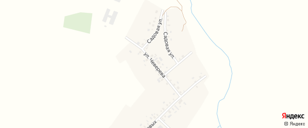 Улица Чеверева на карте села Нижнекаргино с номерами домов