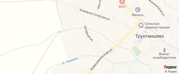 Западная улица на карте села Трунтаишево с номерами домов