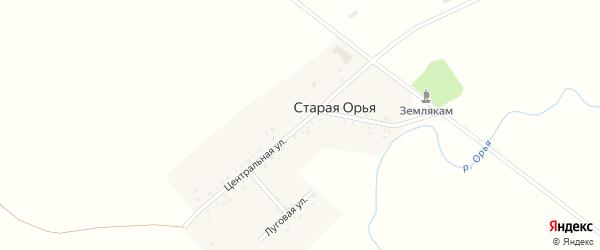 Центральная улица на карте Старой Орьи деревни с номерами домов