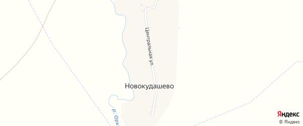 Центральная улица на карте деревни Новокудашево с номерами домов