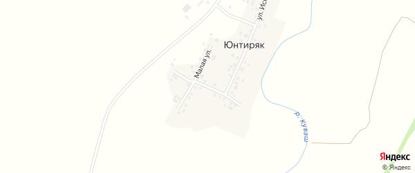 Поперечная улица на карте деревни Юнтиряка с номерами домов
