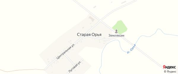 Луговая улица на карте Старой Орьи деревни с номерами домов
