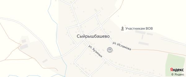 Улица Хузиных на карте села Сыйрышбашево с номерами домов
