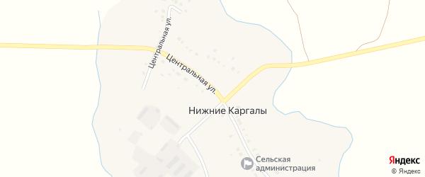 Центральная улица на карте деревни Нижние Каргалы с номерами домов