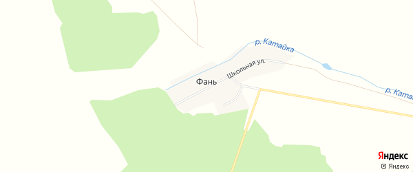 Карта деревни Фани в Башкортостане с улицами и номерами домов
