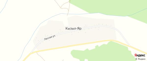 Лесная улица на карте деревни Кызыла-Яра с номерами домов