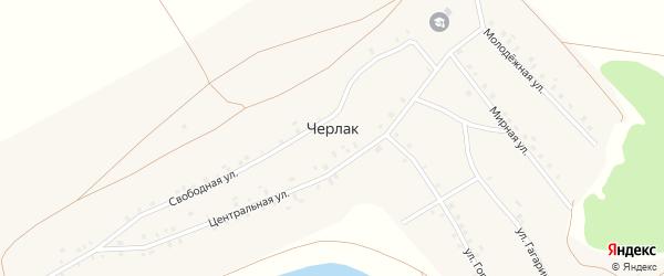Мирная улица на карте села Черлака с номерами домов