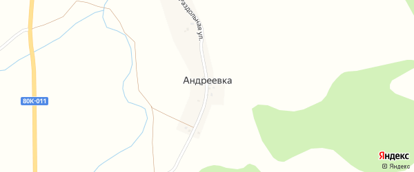 Раздольная улица на карте деревни Андреевки с номерами домов