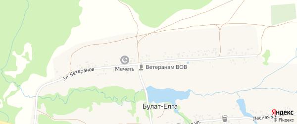 Улица Ветеранов на карте деревни Булата-Елги с номерами домов
