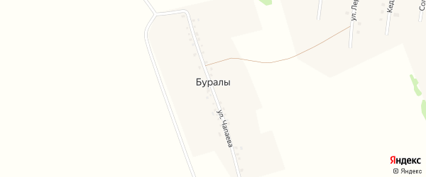 Улица Чапаева на карте деревни Буралы с номерами домов