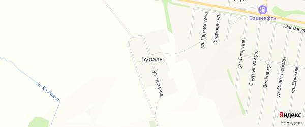 Карта деревни Буралы в Башкортостане с улицами и номерами домов