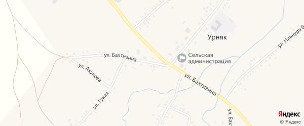 Улица Бахтизина на карте села Урняка с номерами домов