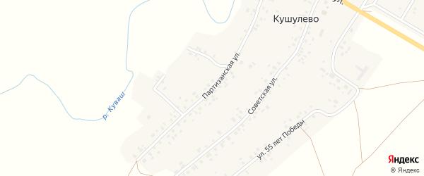 Партизанская улица на карте села Кушулево с номерами домов