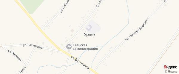 Улица Ахунова на карте села Урняка с номерами домов