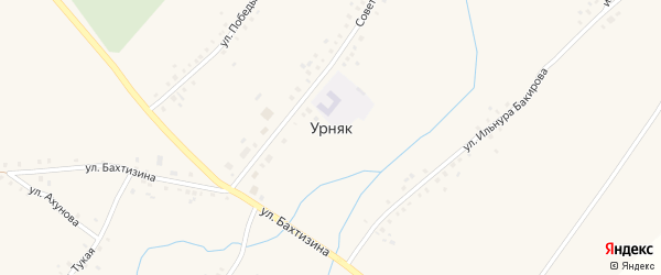 Советская улица на карте села Урняка с номерами домов