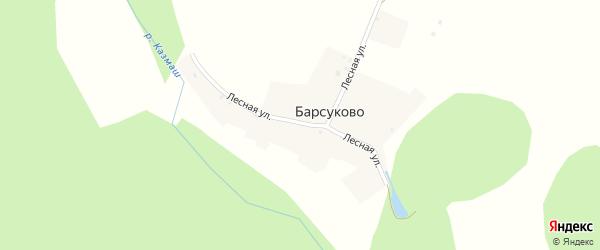 Лесная улица на карте деревни Барсуково с номерами домов
