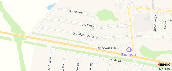 Улица 70 лет Октября на карте села Калтасов с номерами домов
