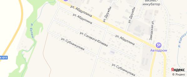 Улица С.Юлаева на карте села Киргиза-Мияки с номерами домов