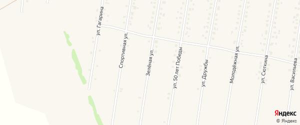Зелёная улица на карте села Калтасов с номерами домов