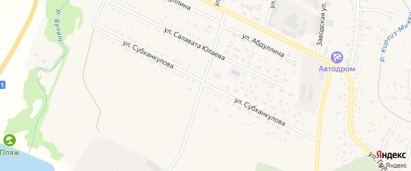 Улица Субханкулова на карте села Киргиза-Мияки с номерами домов