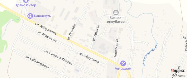 Улица Дружбы на карте села Киргиза-Мияки с номерами домов