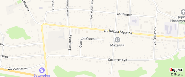 Советский переулок на карте села Калтасов с номерами домов