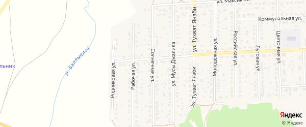 Солнечная улица на карте села Киргиза-Мияки с номерами домов