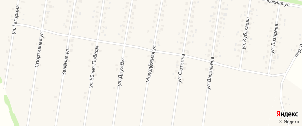Молодежная улица на карте села Калтасов с номерами домов