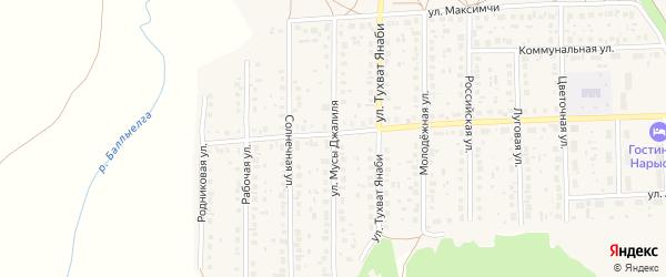 Улица Мусы Джалиля на карте села Киргиза-Мияки с номерами домов