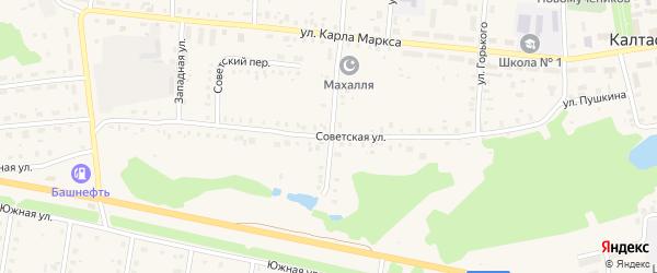 Советская улица на карте села Калтасов с номерами домов