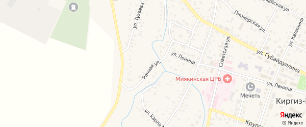 Речная улица на карте села Киргиза-Мияки с номерами домов