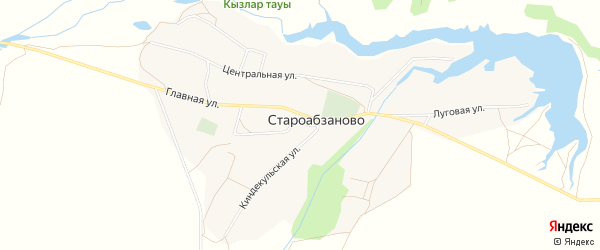 Карта села Староабзаново в Башкортостане с улицами и номерами домов