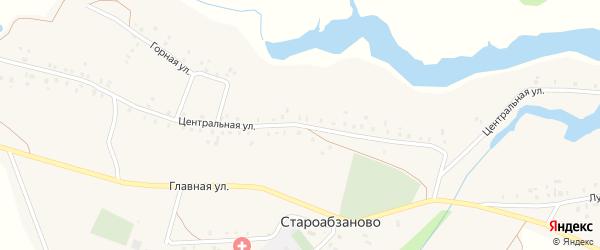 Центральная улица на карте села Староабзаново с номерами домов