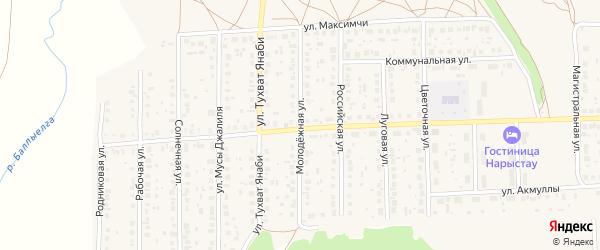 Молодежная улица на карте села Киргиза-Мияки с номерами домов