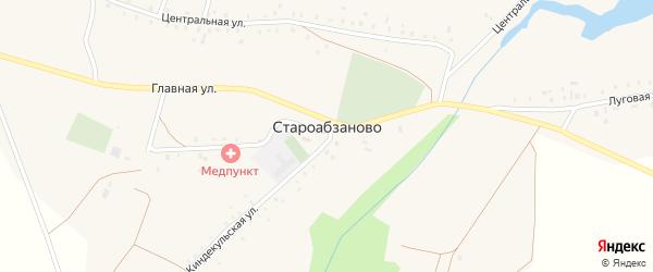 Киндеркульская улица на карте села Староабзаново с номерами домов