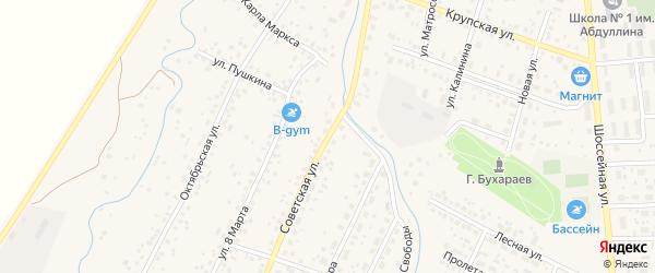 Советская улица на карте села Киргиза-Мияки с номерами домов